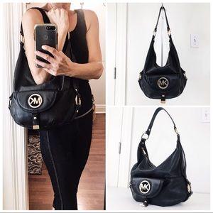 MMK Black Pebble Leather Hobo Shoulder Bag